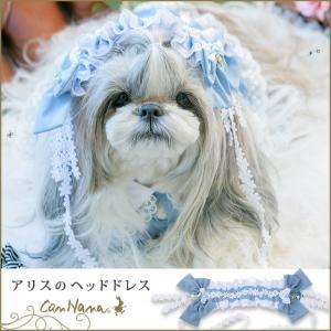 犬 アクセサリー ヘッド 青 水色 ブルー アリス アクセ 結ぶ きゃんナナ ドッグウェア ブランド cannanaonline