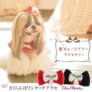 犬 アクセサリー アクセ リボン 可愛い さくらんぼ  ワンタッチ 簡単 きゃんナナ ブランド|cannanaonline