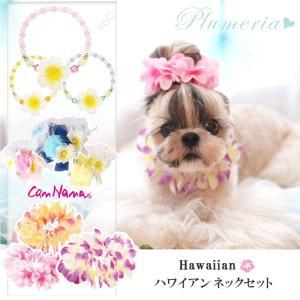 犬用 プルメリア ハワイアンレイ ハワイ アクセサリー  シュシュ  ネック ドッグウェア ブランド きゃんナナ|cannanaonline
