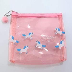 ポーチ 化粧ポーチ 透明 ラメ(ピンク) ビニールポーチ かわいい おしゃれ 防水 小物入れ Lサイズ|canshop2
