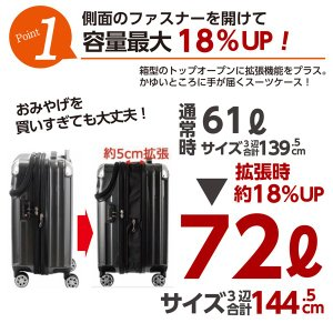 スーツケース Mサイズ 小型 軽量 トップオー...の詳細画像2