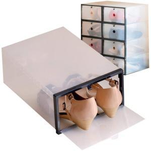 【8箱入り】女性用シューズボックス枠付き 【ブラック】 透明クリアーケース|caply