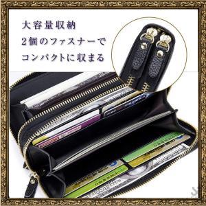 d97eb6d0c803 長財布 メンズ レディース 本革 クラッチバッグ ミニバッグ レザー 防磁 スキミング 防止 ラウンドファスナー 収納 プレゼント用 ボック
