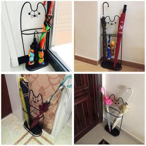Yescom 傘立て おしゃれ スチール ワイヤー ネコ かさたて かわいい スリム 傘たて 玄関 収納 ブラック|caply