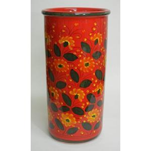 イタリア製 マヨルカ焼 傘立てレッド・花柄 Ф23×H45cm 22-961249|caply