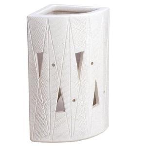 信楽焼陶器 傘立 白マット透し彫扇型傘立 高さ47.0cm 7119-10|caply