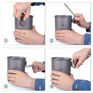 iBasingo ユニセックス 最大容量は900ml チタンコップ キャンピングカップ アウトドア カップカバー 折りたたみハンドル 蓋付き|caply