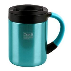 キャプテンスタッグ(CAPTAIN STAG) マグカップ 水筒 蓋付/保温・保冷 ダブルステンレス シーエスプリ 350ml ライトブルー|caply