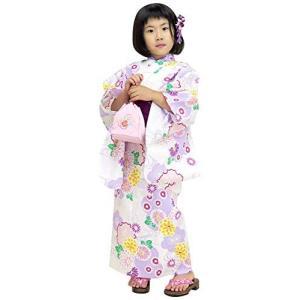 浴衣 こども 女の子 単品 100サイズ 生成り 薄紫系菊と雪輪|caply