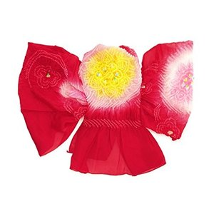(ソウビエン) 兵児帯 キッズ 赤 レッド 黄色 ピンク 絞り 稜花唐草 梅 花 流水 正絹 撥水加工 浴衣帯 へこ帯 女の子向け 子供向け|caply