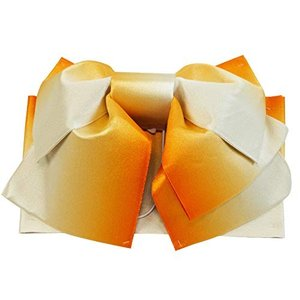 さらさ 浴衣作り帯 全体にラメ入り 作り帯 結び帯 ぼかし 日本製 her-203 (1オレンジぼかし)|caply