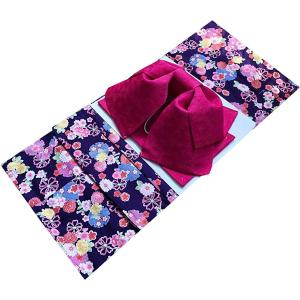 着物問屋オリジナル 二部式浴衣 セパレート浴衣 日本製ワンタッチ作り帯2点セット (M, 44.古典柄雪輪・紫)|caply