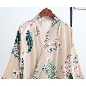 スゴフィSGFY レディース パジャマ 浴衣 前開き 婦人用 寝巻き 旅館 和ざらし ガーゼ 女性 二重袷和 ルームウェア 花柄 ベージュ|caply