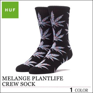 【ゆうパケット送料180円】 HUF ハフ ソックス 靴下 ブラック  MELANGE PLANTLIFE CREW SOCK スケート キース ハフナゲル|capsule091