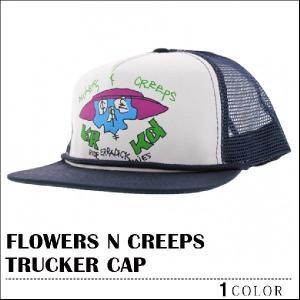 クルキッド キャップ KROOKED FLOWERD N CREEPS ホワイト ネイビー スナップバック 帽子 メッシュキャップ メンズ レディース マーク ゴンザレス|capsule091
