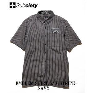 サブサエティ エンブレムシャツ S/S ストライプSubciety EMBLEM SHIRT S/S-STRIPE-|captain79