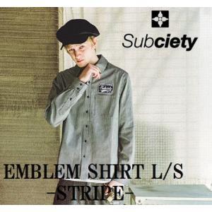 サブサエティ エンブレムシャツ ストライプ Subcieyu EMBLEM SHIRT L/S-STRIPEワークシャツ ヒッコリー|captain79