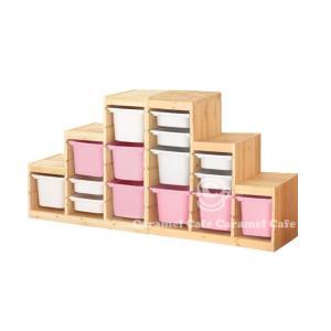 送料無料IKEATROFAST(トロファスト)収納コンビネーションパイン材 ホワイト/ピンク188x44x91 cm PK2-WS6WM3P6