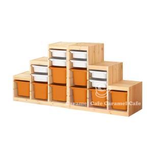 送料無料IKEATROFAST(トロファスト)収納コンビネーションパイン材 ホワイト/オレンジ188x44x91 cm PK2-WS8O8