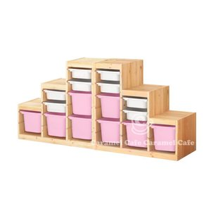 送料無料IKEATROFAST(トロファスト)収納コンビネーションパイン材 ホワイト/ピンク188x44x91 cm PK2-WS8P8