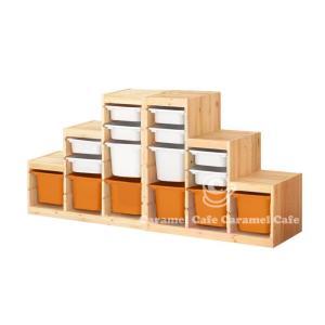 送料無料IKEATROFAST(トロファスト)収納コンビネーションパイン材 ホワイト/オレンジ188x44x91 cm PK2-WS8WM2O6