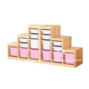 送料無料IKEATROFAST(トロファスト)収納コンビネーションパイン材 ホワイト/ピンク188x44x91 cm PK2-WS8WM2P6