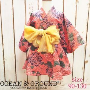【ネコポス・ゆうパケットOK】Ocean&Ground オーシャンアンドグラウンド 浴衣ワンピース AJISAI 90-130 18ss|caramelmama
