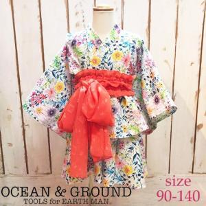 【ネコポス・ゆうパケットOK】Ocean&Ground オーシャンアンドグラウンド Girl's浴衣セットアップ FLOWER 90-140 18ss|caramelmama