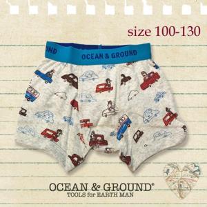 ネコポスOK/Ocean&Ground オーシャンアンドグラウンド ボクサーパンツ Holiday Drive 100-130 18aw(返品・交換不可) caramelmama