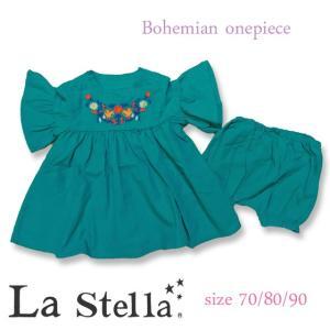 La stella ラ ステラ ボヘミアンブルマ付きワンピース 70/80/90 18ss 【ネコポスOK・ゆうパケットOK】 caramelmama