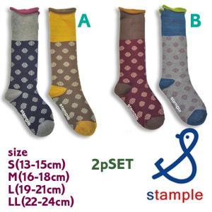 stample スタンプル 2P レトロドットハイソックス S-LL|caramelmama