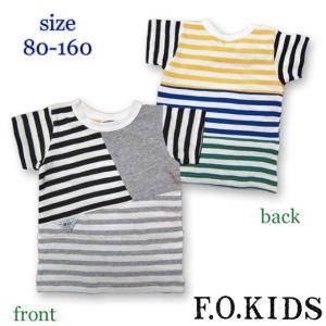 【80-160サイズまで!】FOキッズ エフオーキッズ パッチワークTシャツ 80-160 18ss|caramelmama