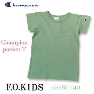 【80-160サイズまで!】FOキッズ エフオーキッズ Champion デニムポケットTシャツ 80-160 18ss 【ネコポスOK・ゆうパケットOK】|caramelmama