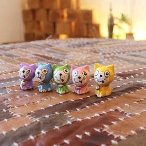 ミニネコ 5匹セット バリ猫の置物 バリ島 お土産|caran2