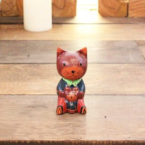 ネコの親子 バリ猫の置物 バリ島 お土産|caran2