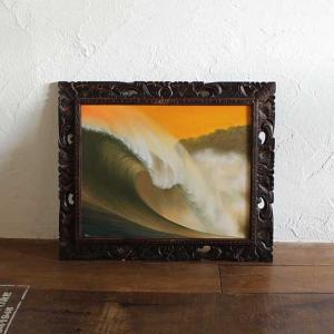 バリアート 絵画 海と波の絵 W62×H52 バリ風 インテリア|caran2
