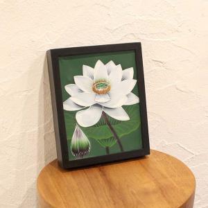 バリアート 絵画 花の絵 ロータスの絵 ホワイト W22×H28 バリ島 インテリア|caran2
