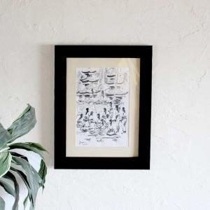 バリ島の風景画 お祭り バリアート 絵画 ペン画 W36×H45 バリ風 インテリア|caran2
