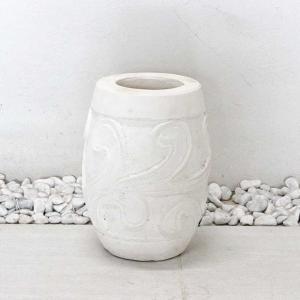 バリ風 大型 プランター 植木鉢 ホワイト H30cm アジアン インテリア エクステリア|caran2