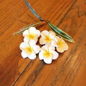 プルメリア 造花 スポンジ 飾り ホワイト 5個入り 4.5cm|caran2