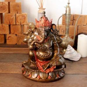 象の神様 ガネーシャの置物 ゴールド H33cm バリ島 インテリア オブジェ caran2