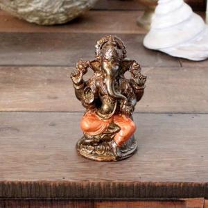 象の神様 ガネーシャの置物 ゴールド H11cm バリ島 インテリア オブジェ caran2