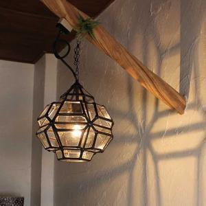 ガラスとアイアンの吊り下げランプ 天井ライト 照明 H30cm|caran2