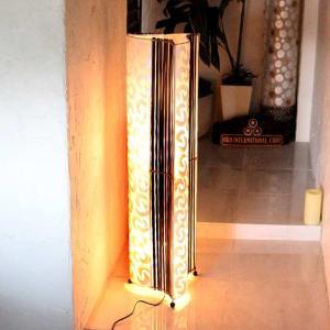 カピス貝とバンブー アジアン ライト 照明 フロアスタンドライト H100cm caran2
