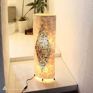 白い カピス貝 アジアン ライト 照明 フロアスタンドライト H100cm|caran2