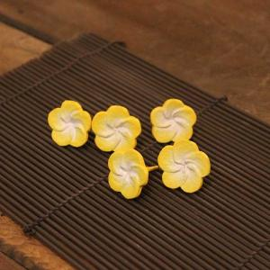 プルメリア 木の造花 飾り イエロー 5個入り 2.5cm|caran2