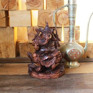 象の神様 ガネーシャの置物 木彫り H23cm バリ島 インテリア オブジェ|caran2