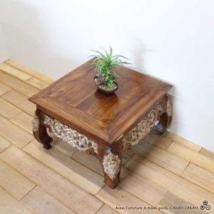 バリ風 彫刻入り リビングテーブル  H40×W63 caran2