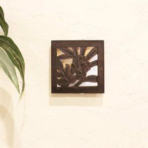 レリーフ アジアン 彫刻 20×20cm バリ風 壁飾り インテリア|caran2