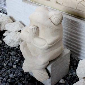 お祈りカエルの石像 大 H34cm オブジェ|caran2